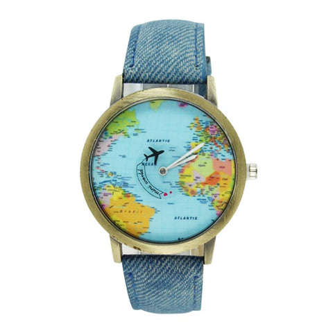 Montre Avec Carte du Monde Avion Bleue