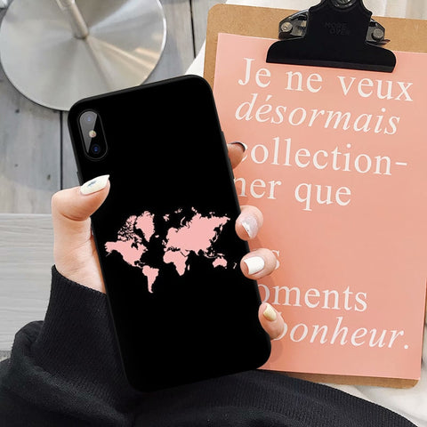 Coque Iphone Carte Du Monde Couleur Rose