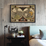 Poster Carte du Monde Vintage Antique