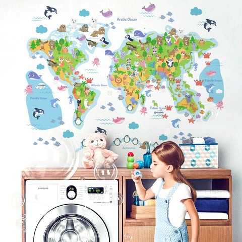 Stickers Carte Du Monde Enfant Animaux