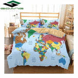 GOANG super king size bedding sets bed sheet duvet cover pillow case 3pcs queen size bed sheets set digital printing World Map