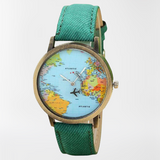 Montre mappemonde avion verte.