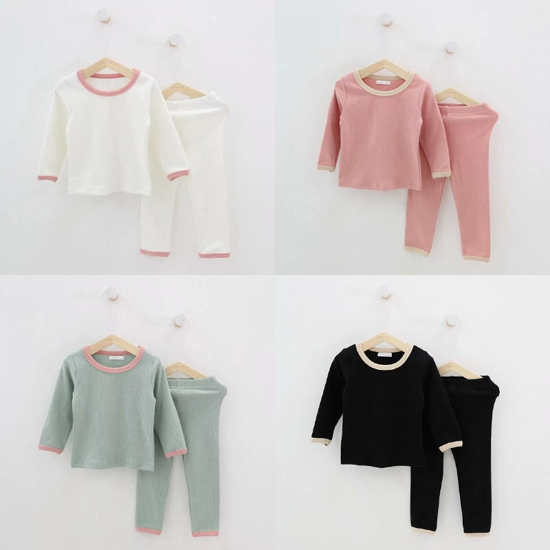 Kid Ribbed Pajamas Set Girls PJS Top and Pant Unisex Soft Korean Style Clothing Clothes Sleepwear Nightwear