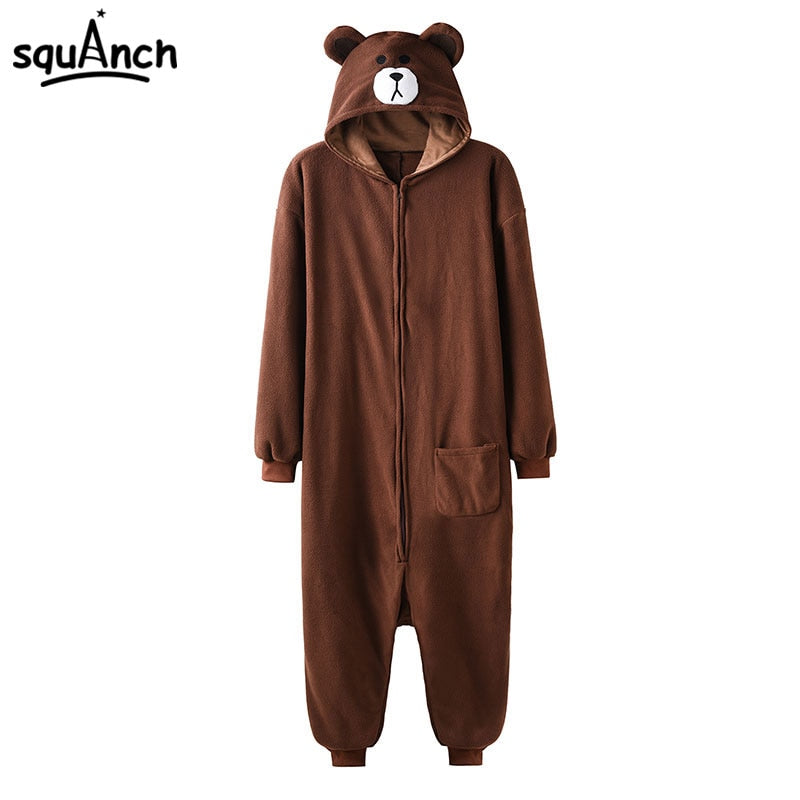 Animal Onesie Plus Size XXL Bear Kigurumis 150-190 cm Adult Women Men Pajama Sleep Overall Polar Fleece Zipper Jumpsuit