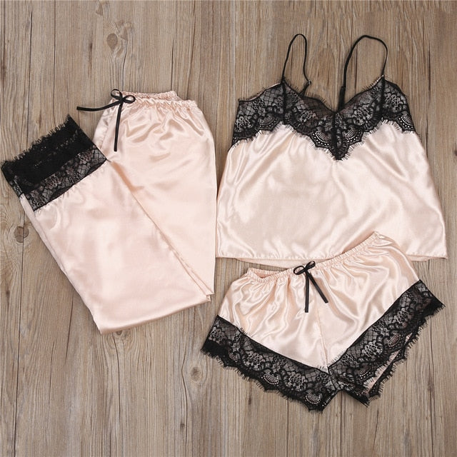 3pcs Women Satin Lace Mesh Sleepwear 9 Colors  Homewear Nightwear Pyjamas Set Female Sexy Sleepwear Outfits