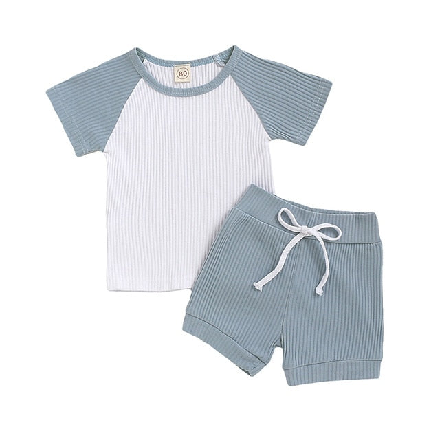 HITOMAGIC 2020 New Arrival Kids Clothes Baby Girls T-Shirt Sets Summer Boys Pants Shorts Patchwork Ribbed Outfit Toddler Pajamas
