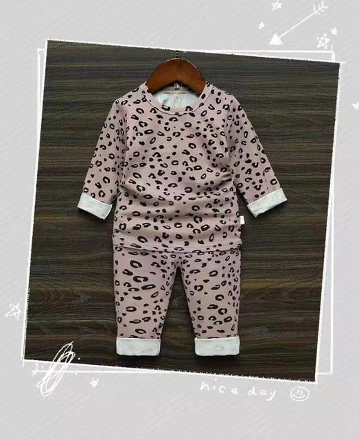 Spring Autumn Baby Boys Girls Pajamas Set 18M-8yrs Children Kids Print Leopard Sleepwear Lounge Wear Cotton Girls Evening Dress