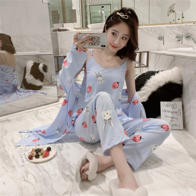 women's 3 pieces pajamas sets 2019 spring and summer Furnishing wear Sexy Women Pajama Sets Nightdress+Robe+Pant Female Pajamas