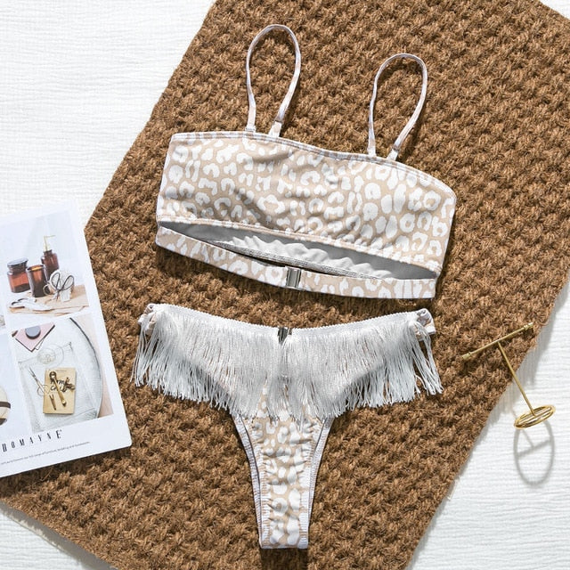 Sexy bikini push up bandeau swimwear 2020 female Leopard print swimsuit women tassel bathing suit bathers bodysuit buquini Mujer