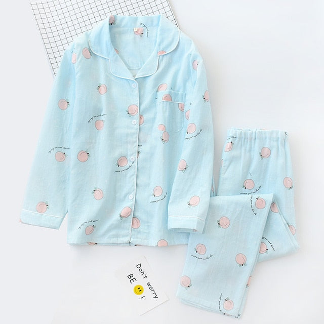 Korea Fresh maple leaf pajama sets women 100% gauze cotton long sleeve casual sleepwear women pyjamas summer hot sale 2020