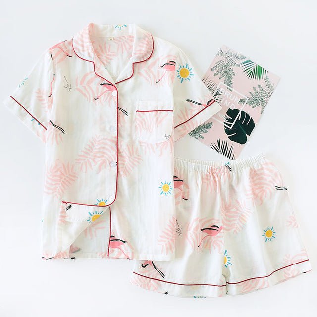 Women 100% Cotton Short Sleeves Ladies Pajama Sets Shorts Cute Cartoon Sleepwear Japanese Simple Short Pyjamas Womens Homewear