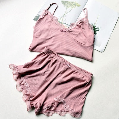 Two Piece Cotton Pajama Set Sexy Lace Top And Shorts Pyjamas Spaghetti Strap Sleepwear High Elastic Pijama Nightie Home Clothes