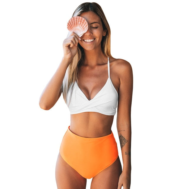 CUPSHE Solid White Bikini with Orange High-Waisted Bikini Sets Sexy Swimsuit Two Pieces Swimwear Women 2020 Beach Bathing Suits