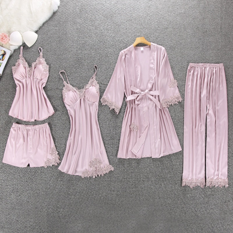 Women Pajamas 5/4/2/1 Pieces Satin Sleepwear Pijama Silk Home Wear Home Clothing Embroidery Sleep Lounge Pyjama with Chest Pads