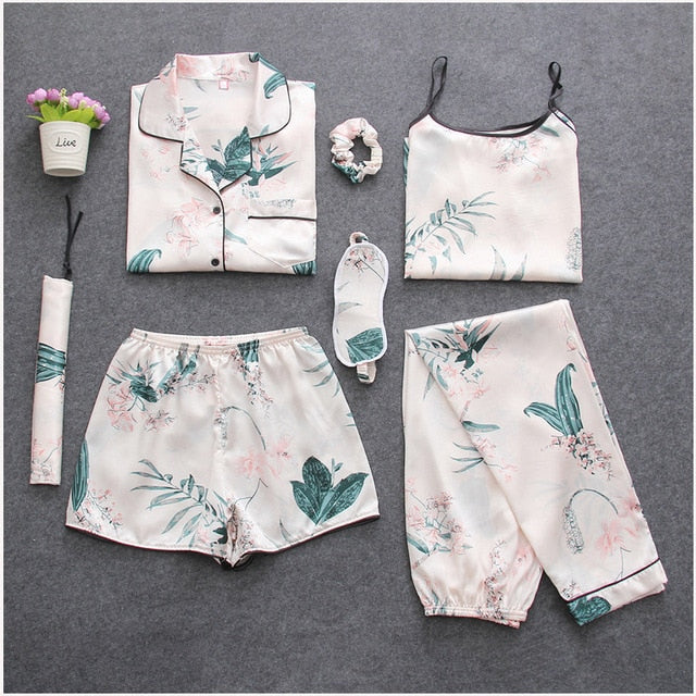 7 Pieces Womens Silk Satin Pajamas Sets Pyjamas Set Sleepwear Pijama Pajamas Suit Female Sleep Two Piece Set Loungewear