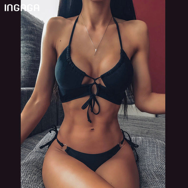 INGAGA High Waist Bikini 2020 Push Up Swimsuit Leopard Swimwear Women Brazilian Bikini Set Biquini Sexy Bathing Suit Women