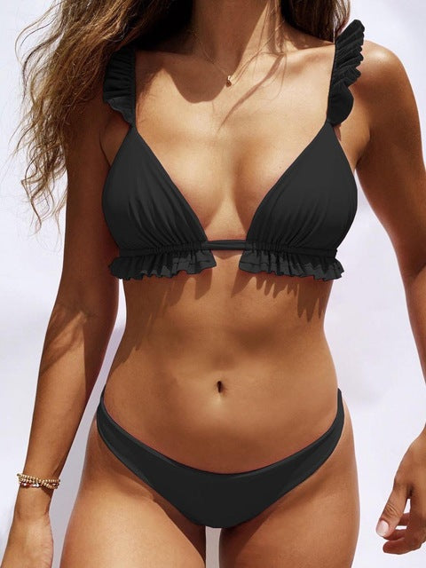 Padded Push Up Bikini Set Underwire Flower Ruffles Swimsuit For Women Sexy Solid Bandeau Female Bathing Suit 2018 Summer Biquini