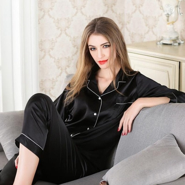 JULY'S SONG 2  Piece Autumn Women Sleepwear Faux Silk Satin Pajamas Set Long Sleeve Sleepwear Pajamas Suit Female Homewear