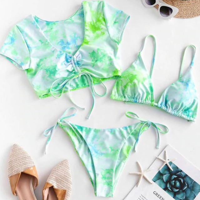 OMKAGI Swimwear Women Tie dye Bikini Set Bathing Suit Beachwear Push Up Swimming Swimwear Sexy Bandage Swimsuit Bikini 2020