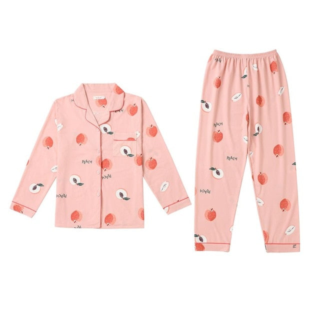 2019 Women Pajamas Sets with Pants Long Sleeve Turn-down Collar with Pocket Pyjama Cute Cartoon Button Top+Pants Pijama