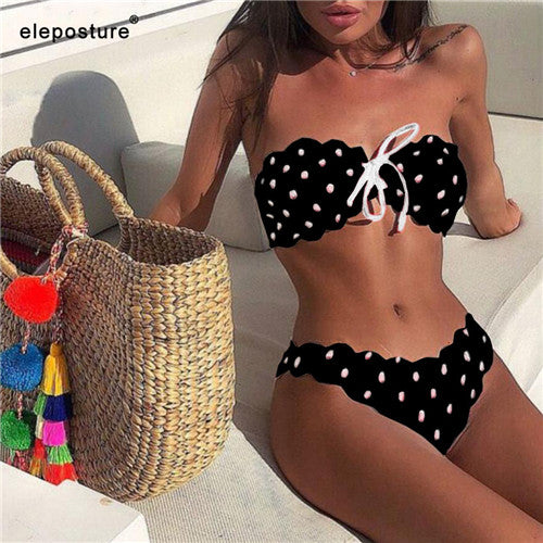 Sexy Polka Dot Bikini Women 2020 Two Piece Swimsuit Push Up Swimwear Floral Side Bathing Suit Brazilian Beach Wear Swimming Suit