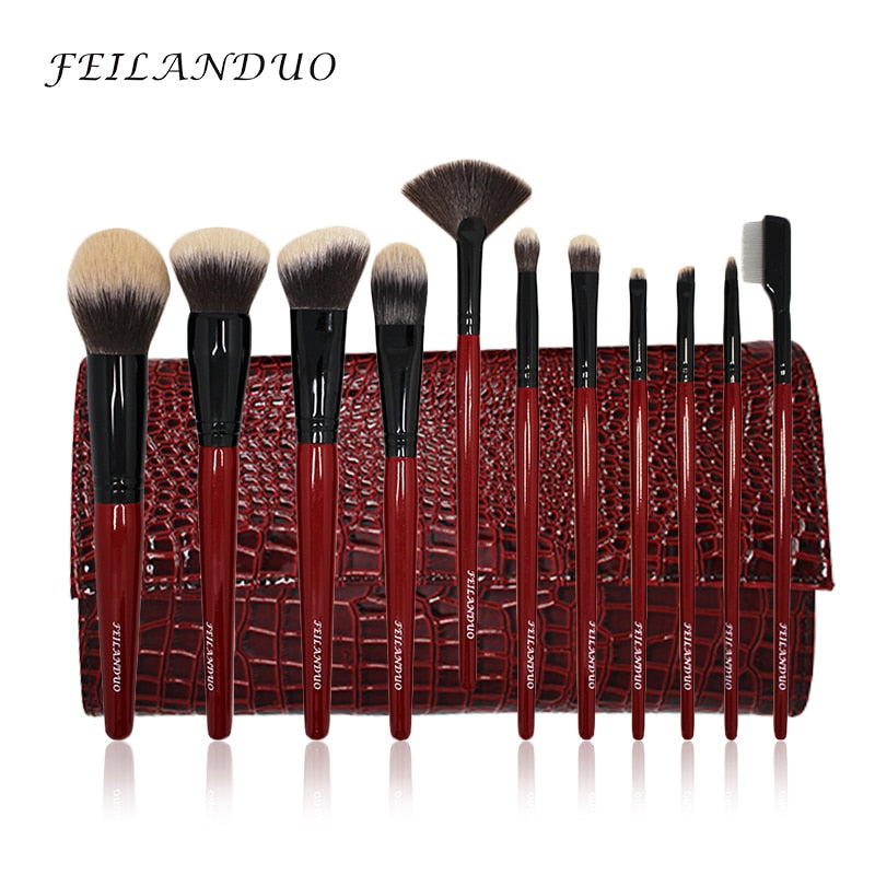 FEILANDUO 11pcs Professional Makeup Brush Set High Quality PBT Makeup Tools T004 Make Up Brushes Cosmetics Tool