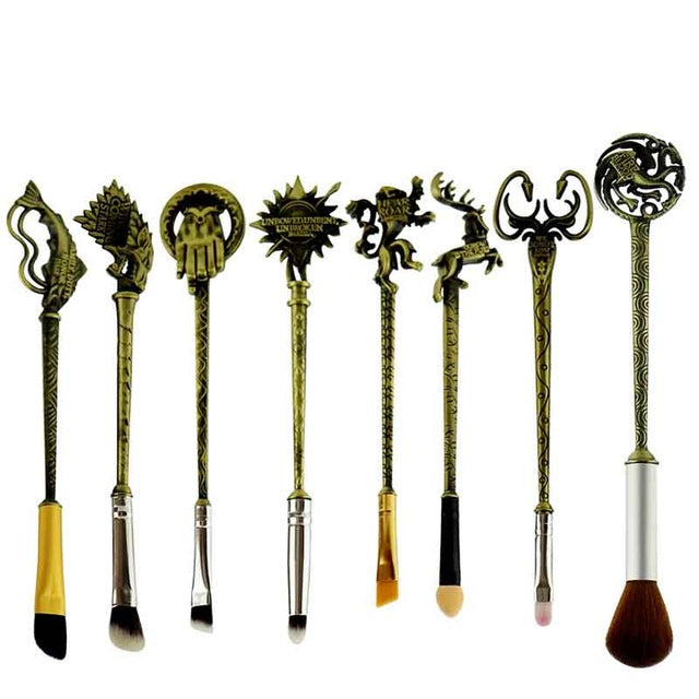 "8pc/Set Hot Game of Thrones Makeup Brushes Set ""Winter is coming""King's Hand/Badge/Fish/Lion/The Sun Makeup Cosmetic Brush Kit"