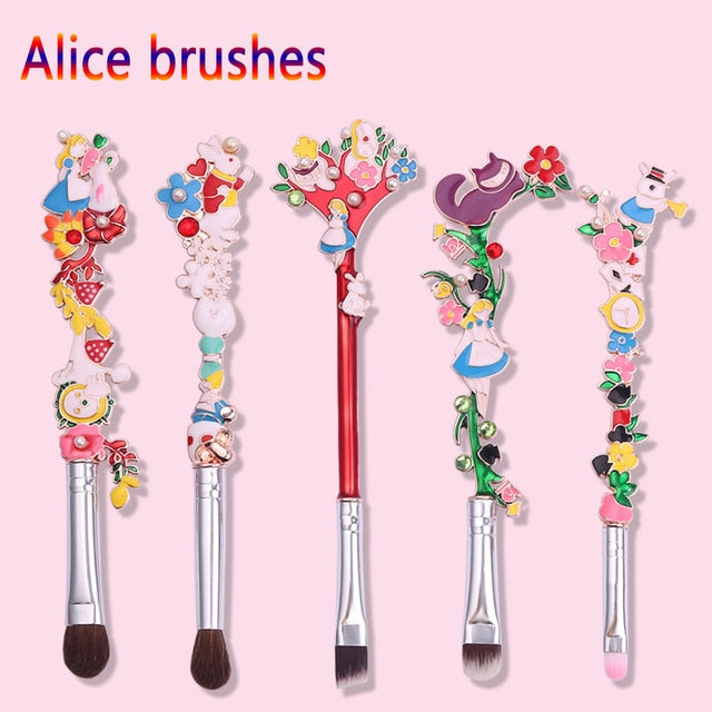 Alice in Wonderland Makeup Brushes Set Kits Natural Horse Hair Eyeshadow Eyebrow Lip Brush Colorful Enamel Beauty Christmas Gift