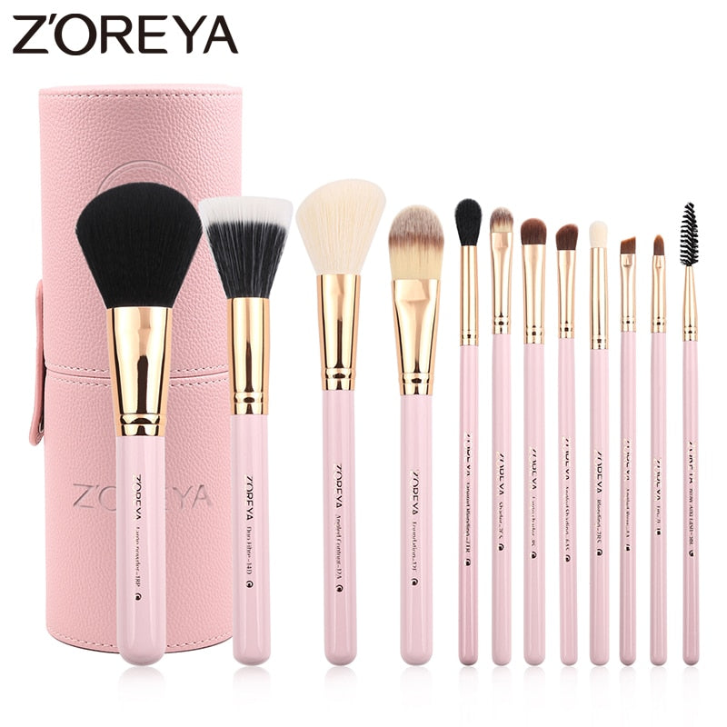 Zoreya Brand 12Pcs Colorful Luxury Makeup Brushes Set Professional Synthetic Hair Brush Set Lip blush makeup cosmetic Brushes