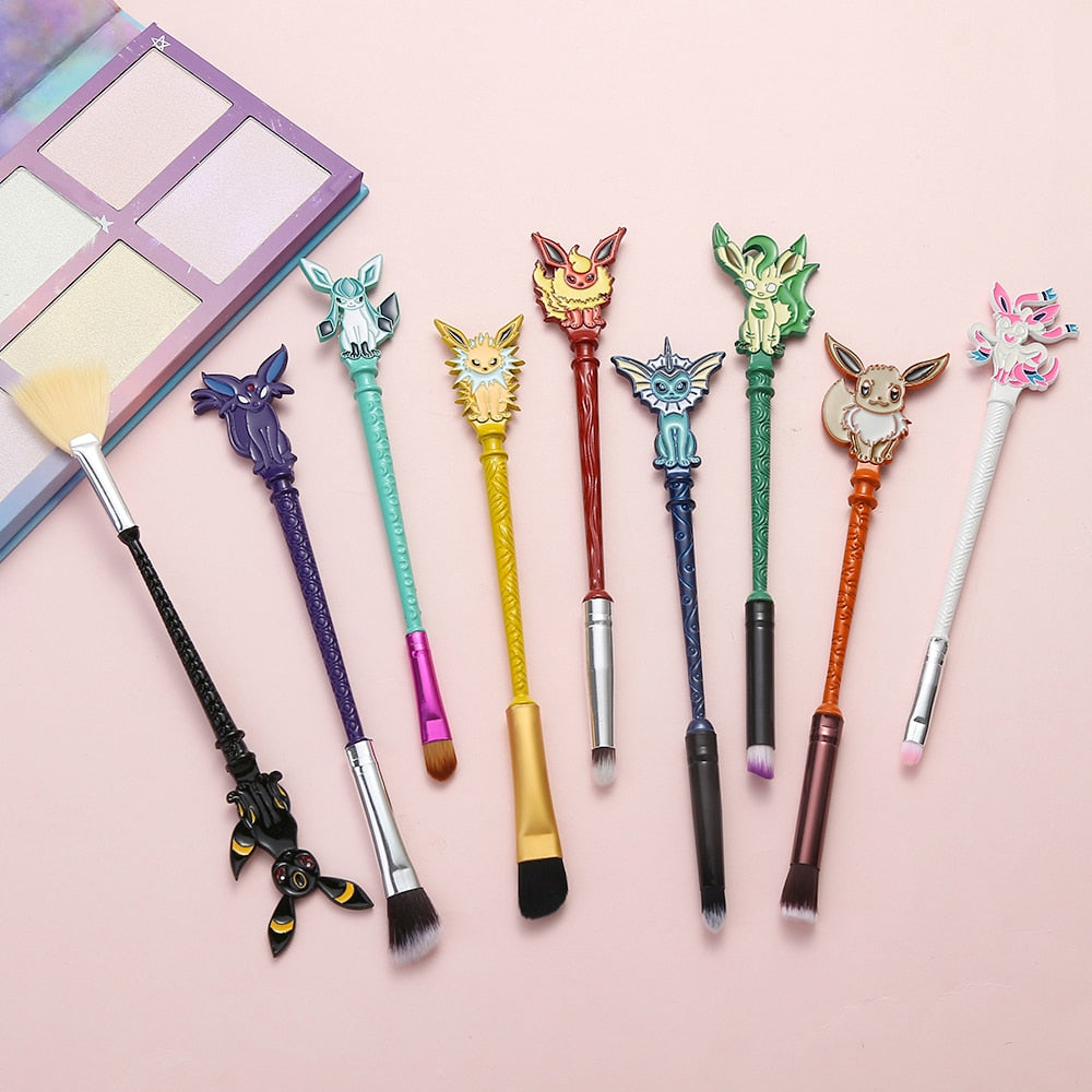 9PCS/Set Pokemon GO Eyeshadow Makeup Brushes Set Lovely Animals/Game Women Cosmetic Pincel Maquiagem Pro Blending Makeup Brushes