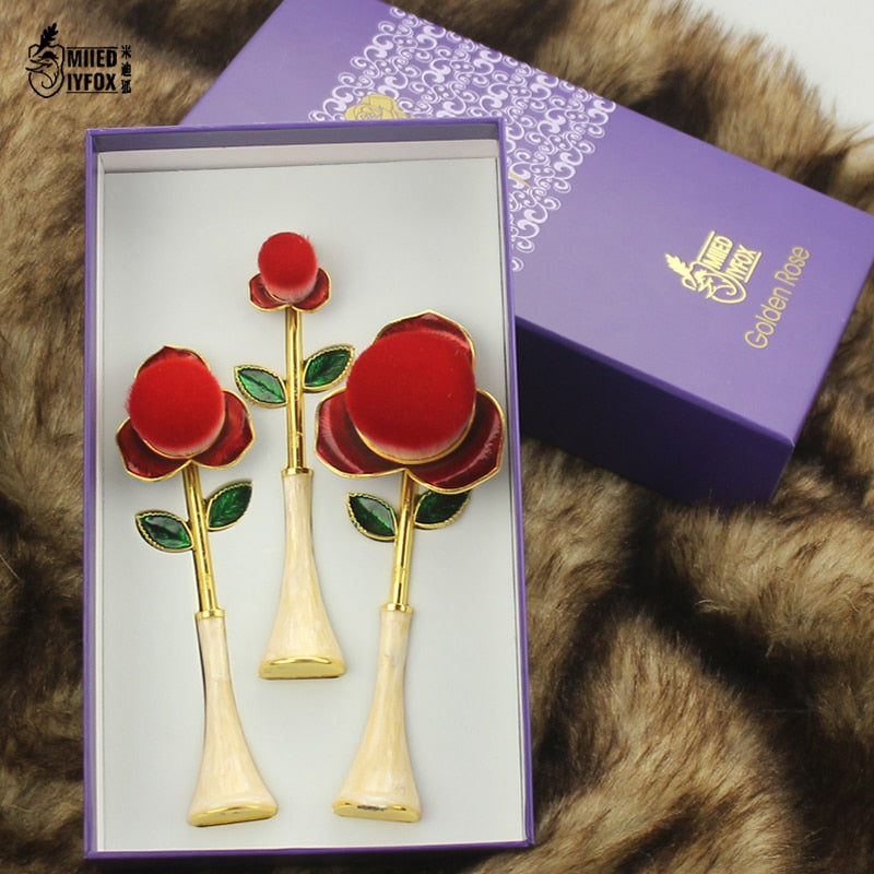 New The Little Prince Red Rose Flower Brush Beauty and The Beast Makeup Brush Cosmetic Foundation Brush Woman Gift Free Shipping
