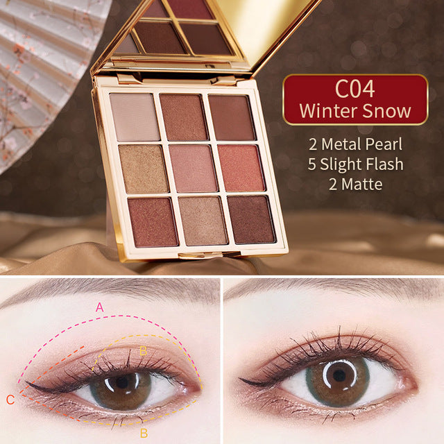 CATKIN 1.6g*9 Seasonal 9 Colors Eyeshadow Palette C04 Winter Snow Palette Eyeshadow Make Up Glitter Metallic