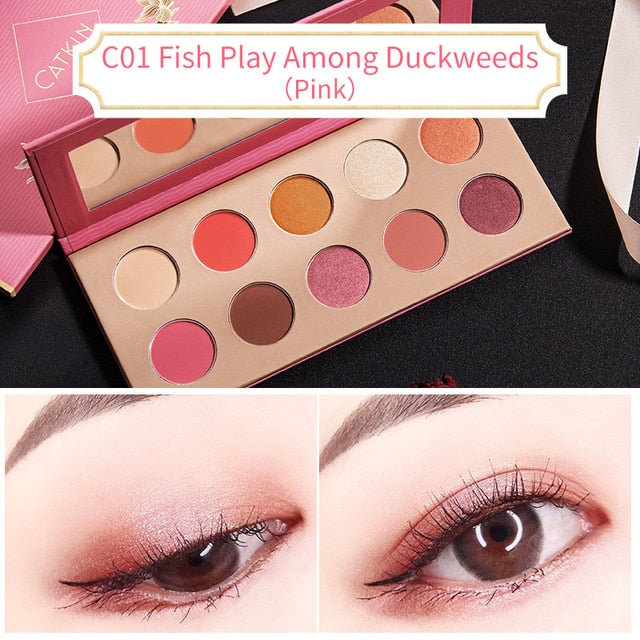 CATKIN Allure 10 Colors Eyeshadow C01 Fish Play Among Duckweeds Pink Makeup