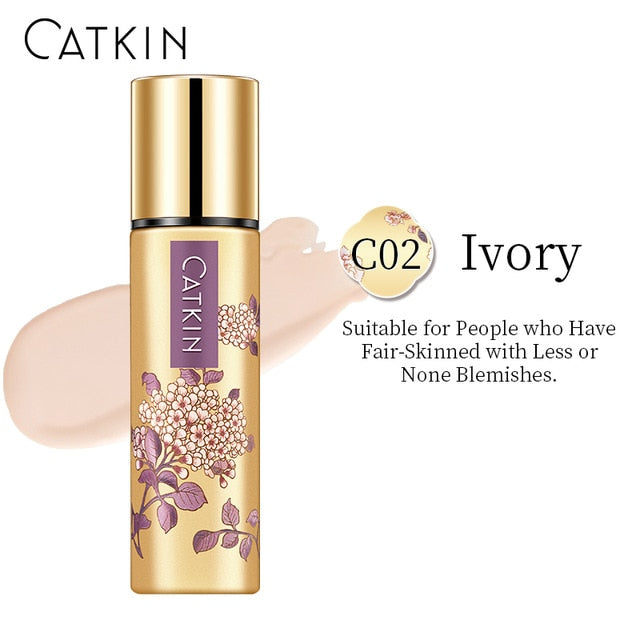 CATKIN Smooth Liquid Foundation 30g C02  Ivory Face Makeup Color Corrector High Light Setting Powder