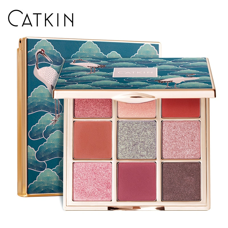 CATKIN 1.6g*9 Seasonal 9 Colors Eyeshadow Palette C01 Spring Leaf Glitter Eyeshadow