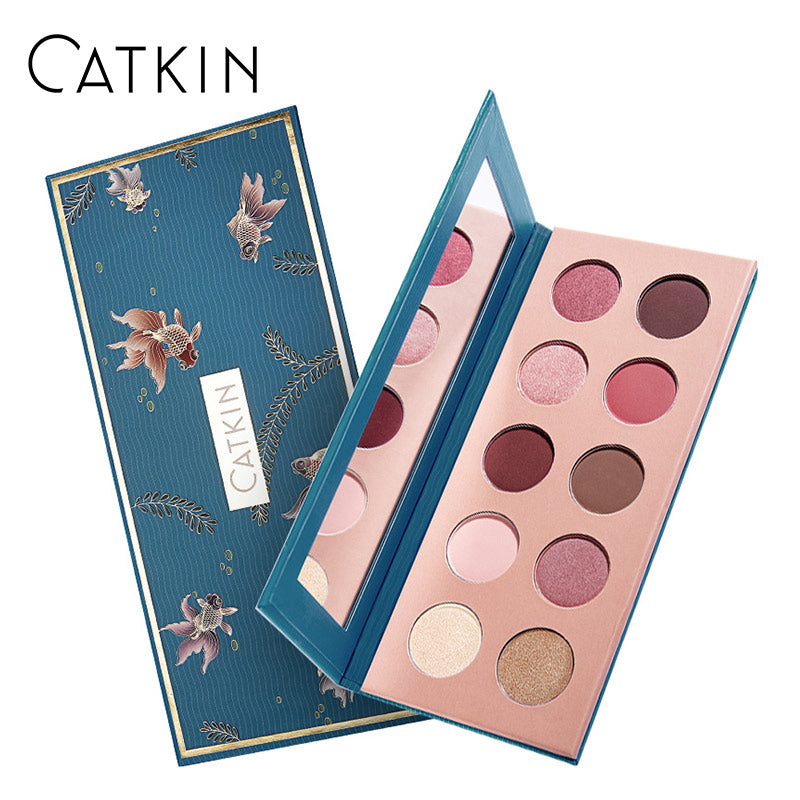 CATKIN Allure 10 Colors Eyeshadow Natural Colors Clean & Translucent Smooth& Refined Powder Texture Stylish Smoky Deep Eyeshadow