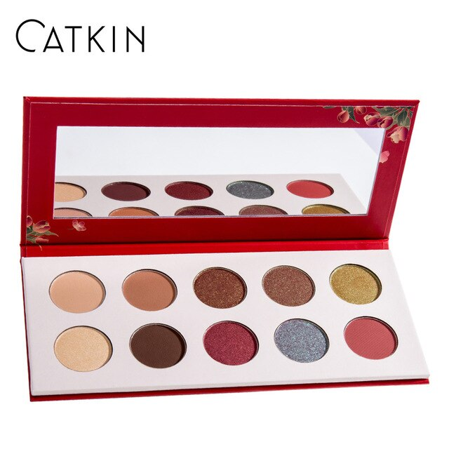 CATKIN Allure 10 Colors Eyeshadow C03 Spring Begonia Blossom Pressed Glitter Shimmer Eyeshadow