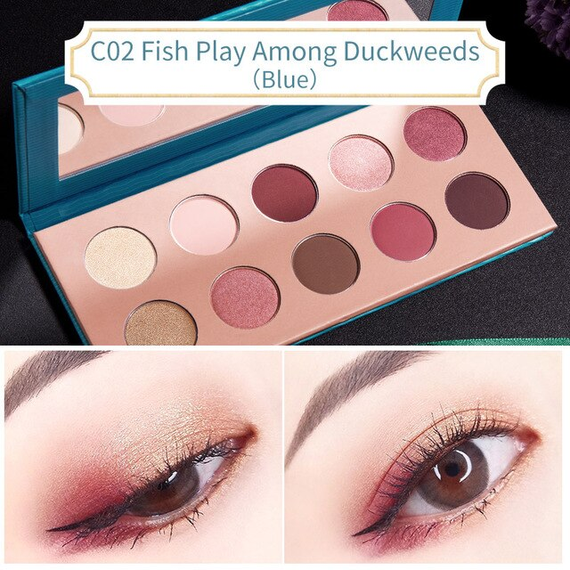 CATKIN Allure 10 Colors Eyeshadow C02 Fish Play Among Duckweeds(Blue) Matte Red Makeup Pigmented Eyeshadow Palette