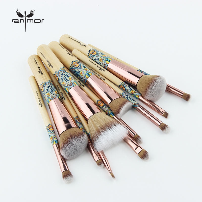 Anmor New Makeup Brushes 12PCS Set Bamboo Make Up Brush Soft Synthetic Collection Powder Contour Eyeshadow Eyebrow Cleaner Kit