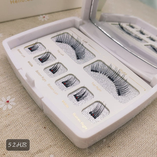 VICILEY 8pcs 3D Magnetic Eyelashes Mink Lash Full Strip Lashes False Eyelash With Tweezers Double Magnet Fake Lash  SCT-W-602