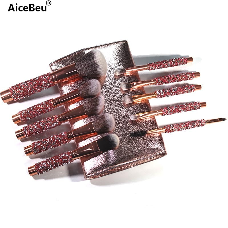AiceBeu 10Pcs/Set Diamond Makeup Brushes Kit Women Make Up Tool  Blending Contour Foundation eyeshadow Brush with Cosmetic Bag