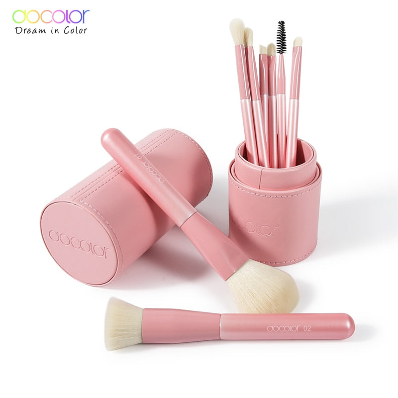 Docolor Makeup Brushes Professional 8pcs Make up brush Set Foundation Eyeshadow Blush Blending Makeup Brushes With brush holder