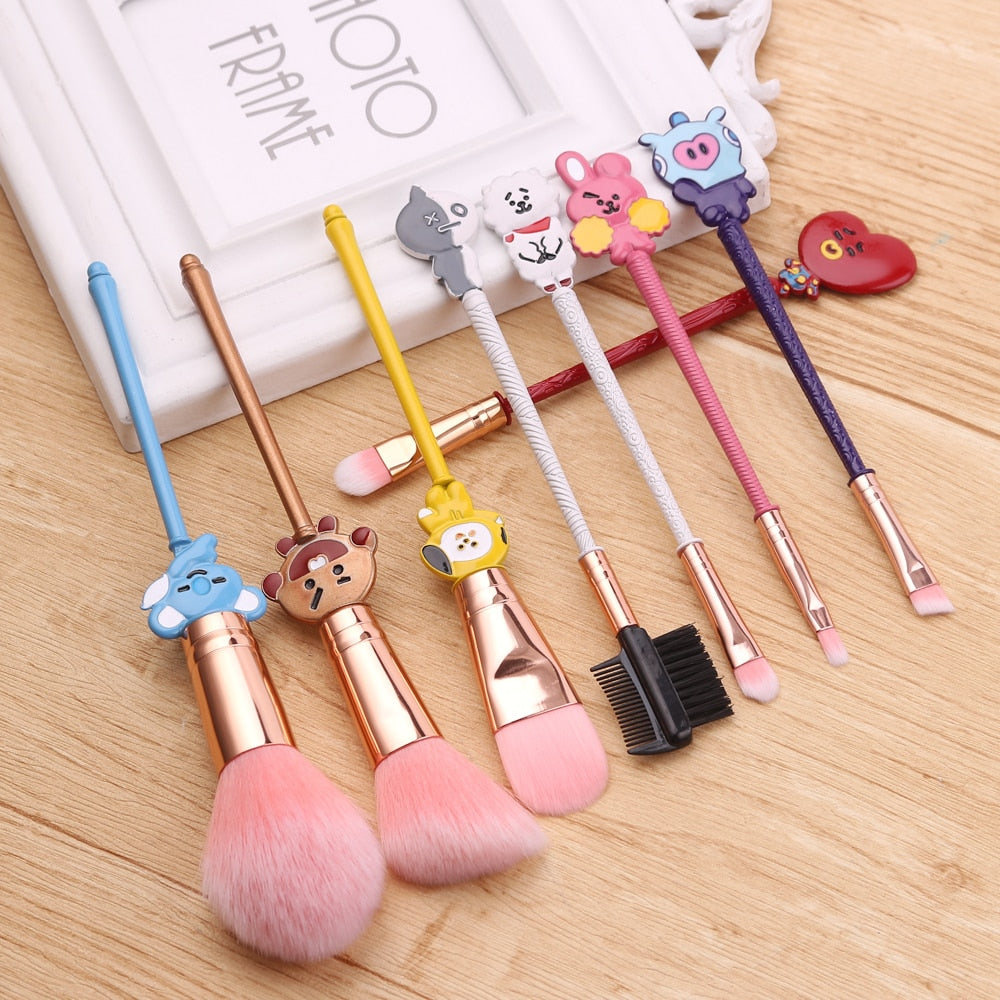 8PCS/Set Korea Eyeshadow Makeup Brushes Set Lovely Women Cosmetic Pincel Maquiagem Pro Blending Foundation Makeup Tool