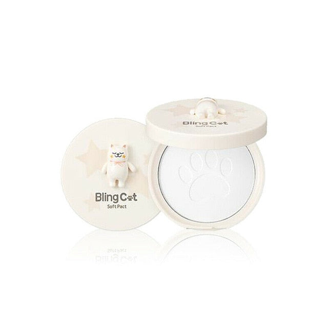 TONYMOLY BLING CAT Soft Pact 12.5g Foundation Pressed Powder Makeup Concealer Pores Cover Whitening Brighten Face Powder