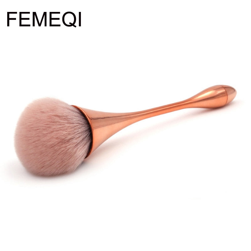 New Rose Gold Single Foundation Powder Blush Brush Beauty Tools Water Droplets Small Waist Makeup Brush