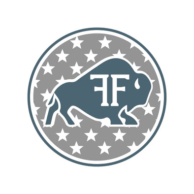 Bison Stars Circle Decal - Blue/Grey