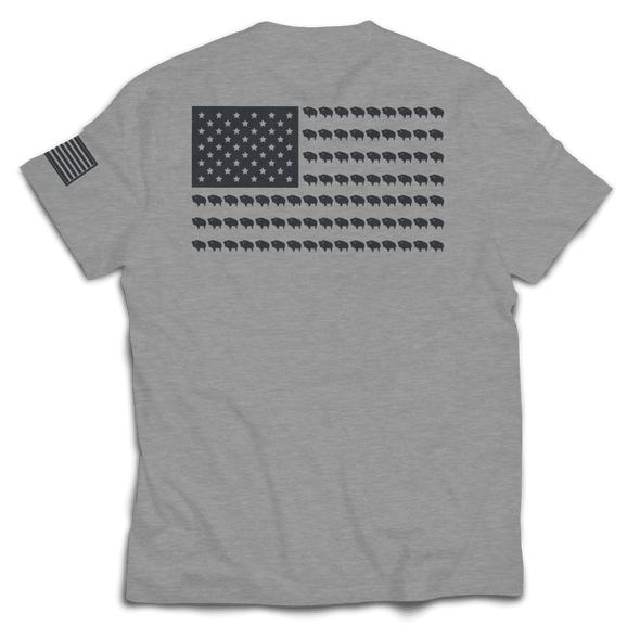 Bison Flag Tee // Grey