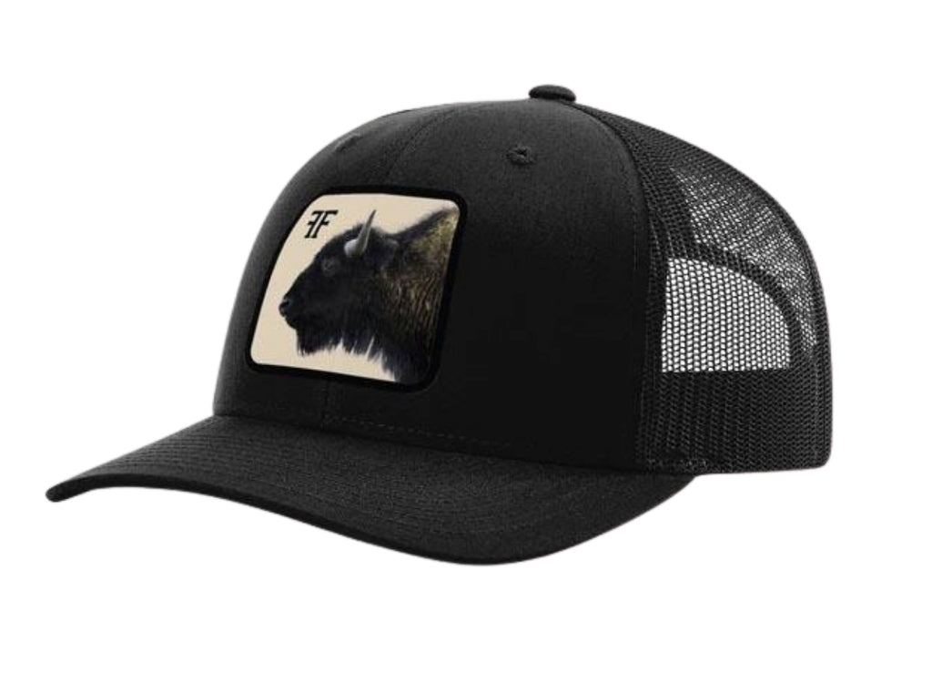 Bison Head Patch Hat // Black and Tan