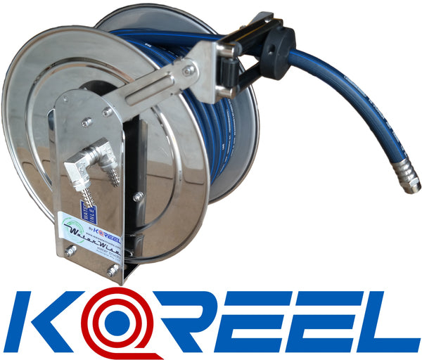 Koreel 13mm x 15m Spring Rewind Hose Reel - Stainless Steel