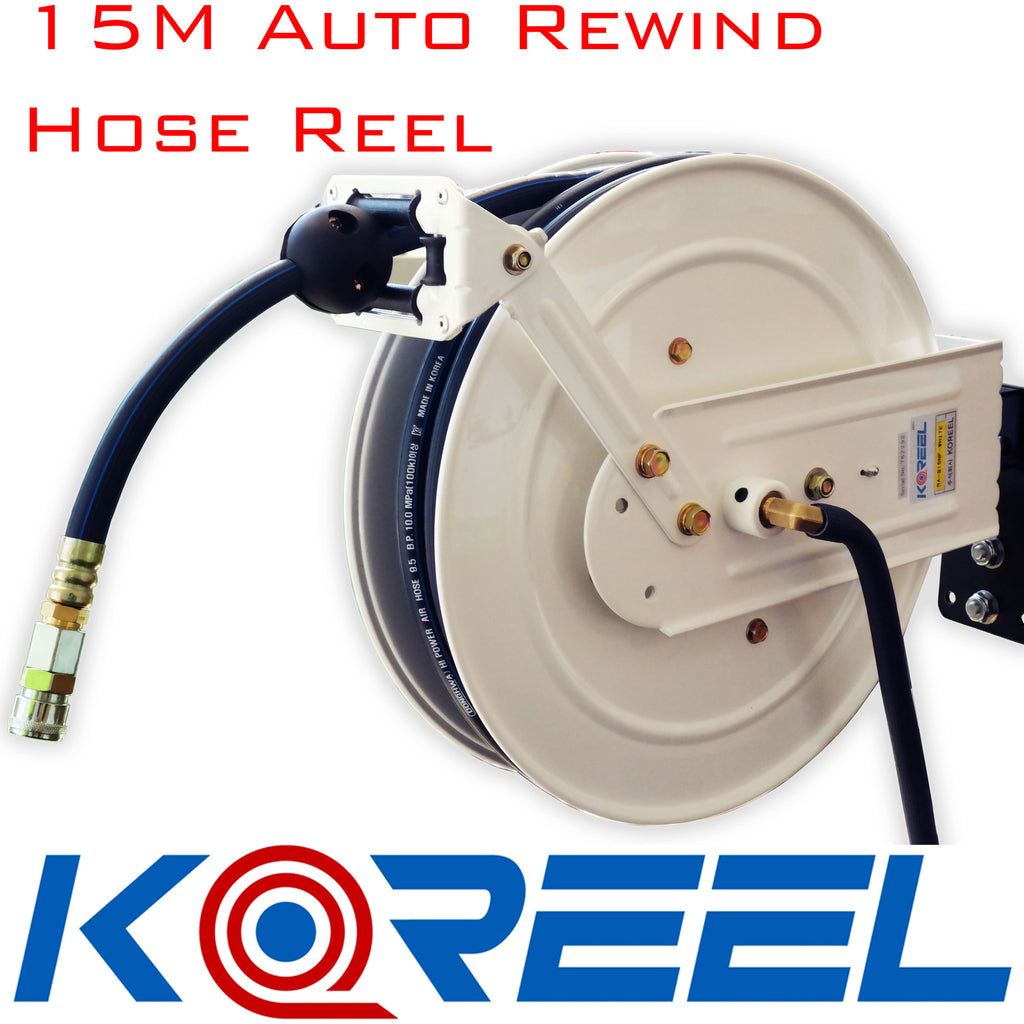 "Koreel Heavy Duty Air Hose Reel With 15m of 9mm Hose with 1/4"" Nitto Type Fittings"
